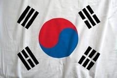 Bandiera della Corea del Sud che ondeggia in dettaglio del vento r immagini stock libere da diritti