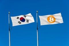 Bandiera della Corea del Sud e bandiera di Bitcoin Immagini Stock Libere da Diritti