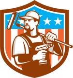 Bandiera della cresta di Cordless Drill Paintroller del tuttofare retro royalty illustrazione gratis