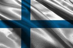 Bandiera della Finlandia, simbolo dell'illustrazione della bandiera nazionale 3D della Finlandia Fotografie Stock Libere da Diritti