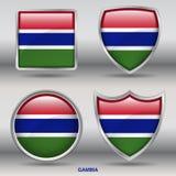 Bandiera della Gambia in una raccolta di 4 forme con il percorso di ritaglio Fotografia Stock Libera da Diritti