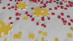 Bandiera della Germania che è fatta con i pezzi del puzzle Animazione concettuale 3D della soluzione tedesca di problema video d archivio