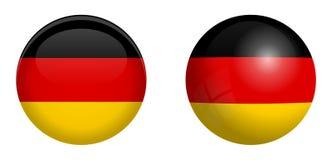 Bandiera della Germania sotto il bottone della cupola 3d e sulla sfera/palla lucide illustrazione vettoriale
