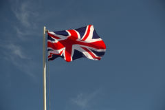 Bandiera della Gran Bretagna alla luce di sera Immagine Stock Libera da Diritti