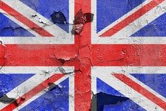 Bandiera della Gran Bretagna dipinta su un muro di cemento Bandierina del Regno Unito Priorità bassa astratta strutturata Immagini Stock
