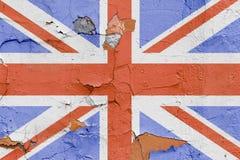 Bandiera della Gran Bretagna dipinta su un muro di mattoni Bandierina del Regno Unito Priorità bassa astratta strutturata Fotografie Stock Libere da Diritti