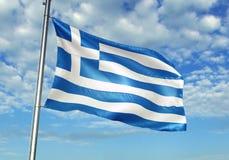 Bandiera della Grecia che ondeggia con il cielo sull'illustrazione realistica 3d del fondo illustrazione di stock
