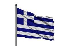 Bandiera della Grecia che ondeggia nel vento, fondo bianco isolato Bandierina greca immagine stock libera da diritti