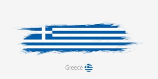Bandiera della Grecia, colpo della spazzola dell'estratto di lerciume su fondo grigio royalty illustrazione gratis