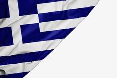 Bandiera della Grecia di tessuto con copyspace per il vostro testo su fondo bianco illustrazione vettoriale