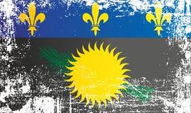 Bandiera della Guadalupa, variante nera della bandiera ufficiosa localmente utilizzata Punti sporchi corrugati illustrazione vettoriale