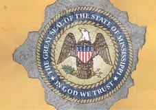 Bandiera della guarnizione del Mississippi dello stato USA in grande muro di cemento materiale tagliato illustrazione vettoriale