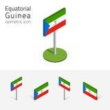 Bandiera della Guinea Equatoriale, insieme di vettore delle icone piane isometriche 3D illustrazione di stock