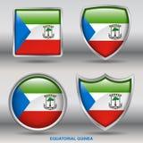 Bandiera della Guinea Equatoriale in una raccolta di 4 forme con il percorso di ritaglio Fotografia Stock Libera da Diritti