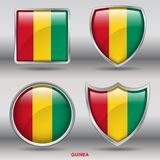 Bandiera della Guinea in una raccolta di 4 forme con il percorso di ritaglio Immagine Stock Libera da Diritti