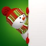 Bandiera della holding del pupazzo di neve Immagine Stock Libera da Diritti