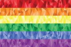 Bandiera della lesbica e gay dell'arcobaleno nella poli arte Immagine Stock