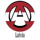 Bandiera della Lettonia del mondo sotto forma di segno dell'anarchia illustrazione di stock