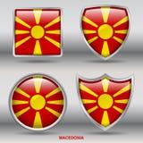 Bandiera della Macedonia in una raccolta di 4 forme con il percorso di ritaglio Fotografie Stock Libere da Diritti