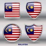 Bandiera della Malesia in una raccolta di 4 forme con il percorso di ritaglio Immagini Stock