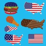 Bandiera della mappa dell'America e pasto rapido americano Immagini Stock