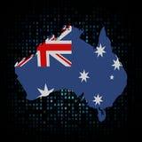 Bandiera della mappa dell'Australia sull'illustrazione di codice della sfortuna Fotografia Stock