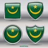 Bandiera della Mauritania in una raccolta di 4 forme con il percorso di ritaglio Immagini Stock