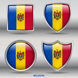 Bandiera della Moldavia in una raccolta di 4 forme con il percorso di ritaglio Immagine Stock