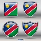 Bandiera della Namibia in una raccolta di 4 forme con il percorso di ritaglio Fotografia Stock Libera da Diritti
