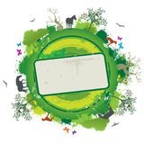 Bandiera della natura di vettore con gli alberi e gli animali Fotografia Stock Libera da Diritti