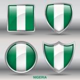 Bandiera della Nigeria in una raccolta di 4 forme con il percorso di ritaglio Fotografia Stock Libera da Diritti