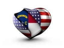 Bandiera della Nord Carolina dello stato di U.S.A. su fondo bianco Fotografia Stock Libera da Diritti