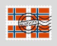Bandiera della Norvegia sui francobolli Fotografie Stock Libere da Diritti