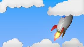 Bandiera della Norvegia sul livello di volo del razzo nel cielo Fondo loopable in relazione con il programma norvegese di moto de illustrazione di stock