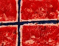 Bandiera della Norvegia sul muro di cemento Fotografie Stock Libere da Diritti