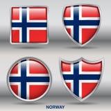 Bandiera della Norvegia in una raccolta di 4 forme con il percorso di ritaglio Fotografia Stock
