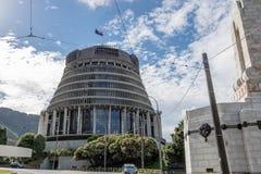 Bandiera della Nuova Zelanda di volo della costruzione di governo dell'alveare al mezzo albero fotografia stock