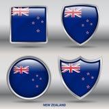 Bandiera della Nuova Zelanda in una raccolta di 4 forme con il percorso di ritaglio Fotografia Stock Libera da Diritti
