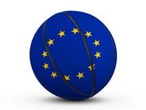 Bandiera della palla UE di pallacanestro Fotografia Stock Libera da Diritti