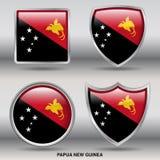 Bandiera della Papuasia Nuova Guinea in una raccolta di 4 forme con il percorso di ritaglio Immagini Stock Libere da Diritti