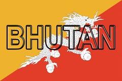 Bandiera della parola del Bhutan Fotografia Stock
