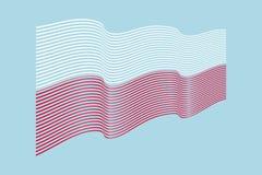 Bandiera della Polonia su fondo blu Bande bandiera, linea i di Wave Fotografia Stock