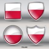 Bandiera della Polonia in una raccolta di 4 forme con il percorso di ritaglio Immagini Stock Libere da Diritti