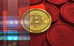 bandiera della porcellana del bitcoin 3d Immagini Stock