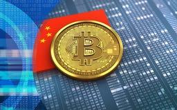 bandiera della porcellana del bitcoin 3d illustrazione di stock