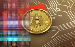 bandiera della porcellana del bitcoin 3d Fotografia Stock