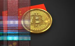bandiera della porcellana del bitcoin 3d Fotografie Stock
