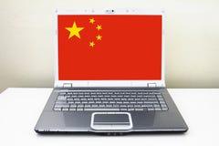 Bandiera della porcellana del taccuino del computer portatile Immagine Stock Libera da Diritti