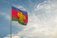 Bandiera della regione di Krasnodar del Russo Fotografia Stock Libera da Diritti