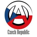 Bandiera della repubblica Ceca del mondo sotto forma di segno dell'anarchia illustrazione vettoriale